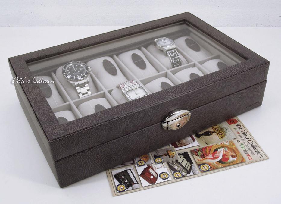 Portaorologi scatola porta orologi in legno 12 posti wb12bkl davinci collection complementi - Porta orologi ikea ...